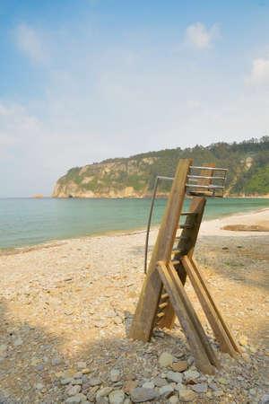 Lifeguard stand, in a desert beach  photo