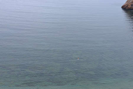 vastness: A man swims alone in the vastness of the sea  Stock Photo