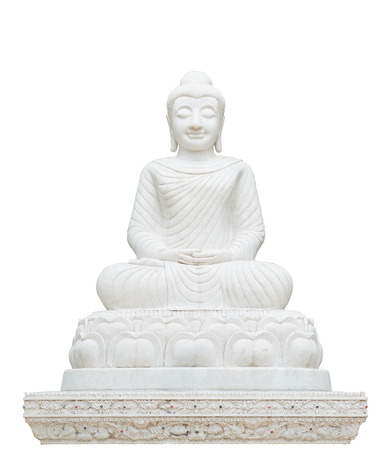 head stones: Marble Buddha sculpture isolated on white.