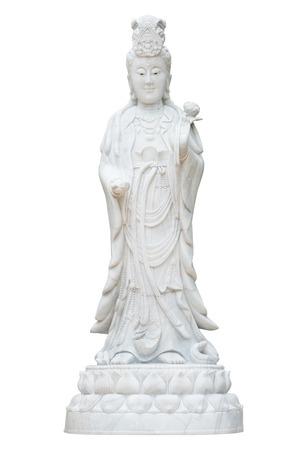 Kuan Yin marble sculpture isolated on white.
