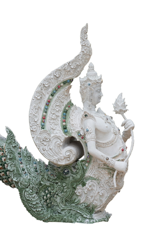 himmapan: Thai traditional sculpture in Buddhist temple isolated on white.