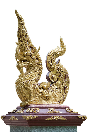 himmapan: Thai traditional sculpture in Buddhist temple, Naga the Magical snake in Himmapan world isolated on white.
