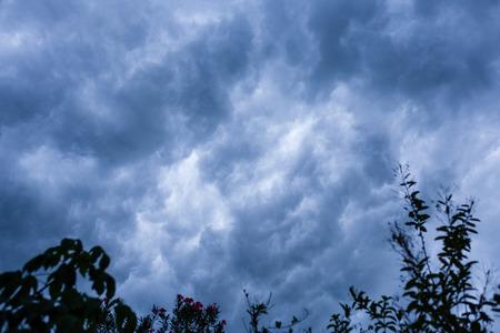 Tempestuous dark cloud before thunder storm.