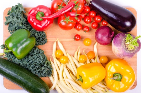 eating healthy: Fresh autumn organic vegetables. Healthy eating background Stock Photo