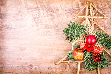 Christmas snowy tree, New Year decoration on wooden. Free space for text 스톡 콘텐츠
