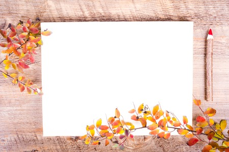 pensil: Colorful autumn leaves and pensil lying on diary, notebook, paper, wooden background. Fall and thanksgiving. Autumn composition. Free space for text. Stock Photo