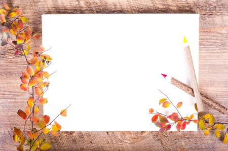 composition notebook: Colorful autumn leaves and pensils lying on diary, notebook, paper, wooden background. Fall and thanksgiving. Autumn composition. Free space for text. Stock Photo