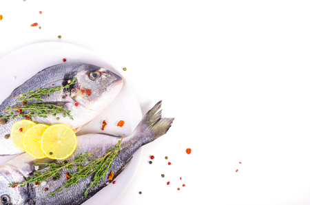 sparus: Fresh raw gilthead fishes with lemon, herbs, salt on plate, white background. Healthy food concept. Food frame