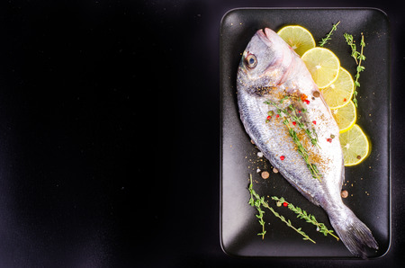 gilthead: Fresh raw gilthead fishes with lemon, herbs, salt on plate, black background. Healthy food concept. Food frame
