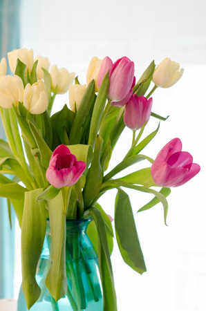 Bouquet Of Beautiful Pink And Yellow Tulips In Tiffany Vase Stock