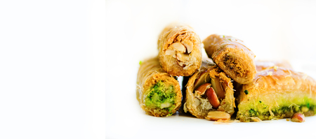 baklava: Middle eastern dessert baklava on white background. Free space for your text. Banner