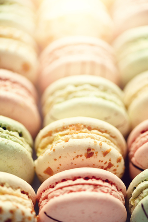 Colorful french macaroons flat lay. Stock Photo
