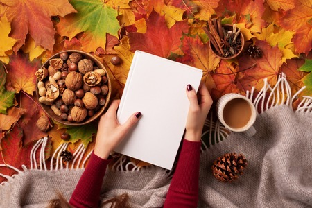 Autumn flat lay. Woman hands golding white book, wooden bowl of nuts, coffee cup, cone, cinnamon over beige plaid, colorful background. Hygge and cozy still life. Top view. Reading time. Banner. Stock Photo