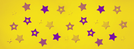 Violet, purple stars on yellow background. Texture for new year, birthday, baby shower party. Creative pattern. Banner