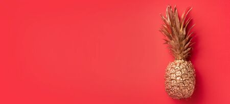 Creative layout. Gold pineapple on red background with copy space. Top view. Tropical flat lay. Exotic food concept, crazy trend. Banner.