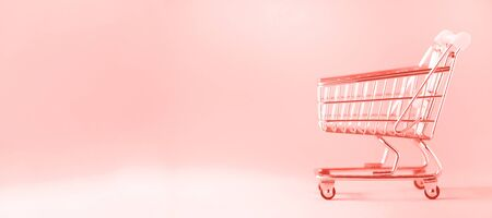Shopping cart on trendy coral color background. Minimalism style. Creative design. Copy space. Shop trolley at supermarket. Sale, discount, shopaholism concept. Consumer society trend. Zdjęcie Seryjne