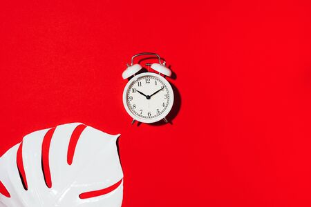 White alarm clock and monstera leaf over red background with copy space. Top view. Flat lay. Wake up alert concept. Morning routine. 스톡 콘텐츠