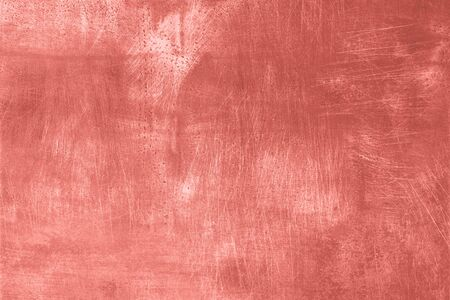 Abstract coral grunge texture with scratches, copy space. Banner. Concrete texture, stone background. Trendy color backdrop.