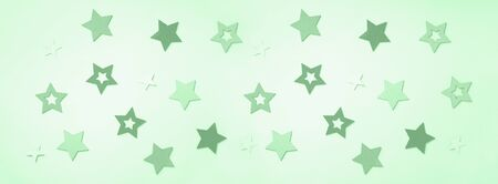 Festive abstract background with stars in trendy mint color. Texture for new year, birthday, baby shower party. Creative pattern. Banner.