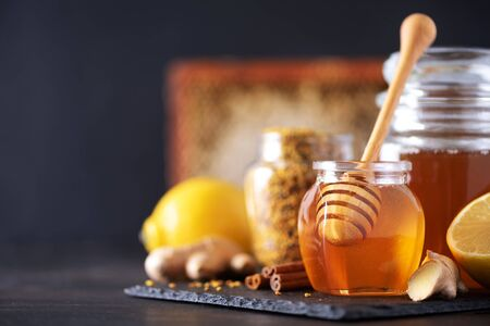 Alternative medicine concept. Ingredients for flu fighting natural hot drink. Copy space. Lemon, ginger, mint, honey, apple and spices on dark background. Stock Photo
