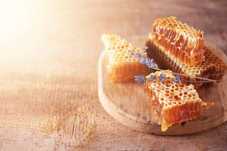 Fresh honeycombs pieces, dry lavender flowers on wooden background. Autumn harvest concept. Stock Photo