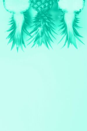 Pattern with bright pineapples on mint color background. Top View. Copy Space. Trendy green and turquoise color. Minimal style. Pop art design, creative summer concept Stock fotó