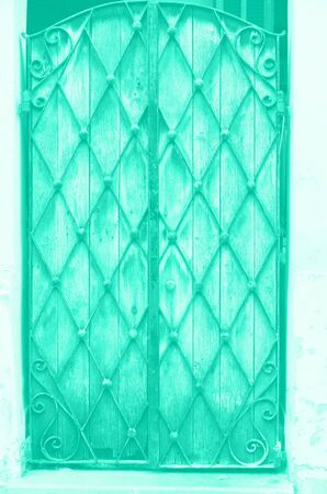 Old wooden and metal door in mint color background. Trendy green and turquoise color