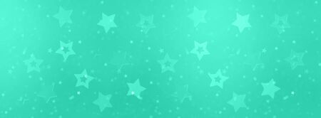 Stars on mint color background with bokeh. Texture for new year, birthday, baby shower party. Trendy green and turquoise color. Creative pattern. Banner. Reklamní fotografie