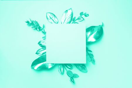 Golden leaves on mint color background with copy space. Top view. Copy space. Trendy green and turquoise color. Creative design elements for invitation, wedding cards, valentines day.