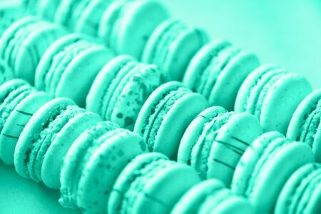 Colorful french macaroons flat lay. Pastel colors macarons on mint color background. Trendy green and turquoise color. Holidays and celebrations concept. Sweet gift for woman, girl. Banner. Reklamní fotografie