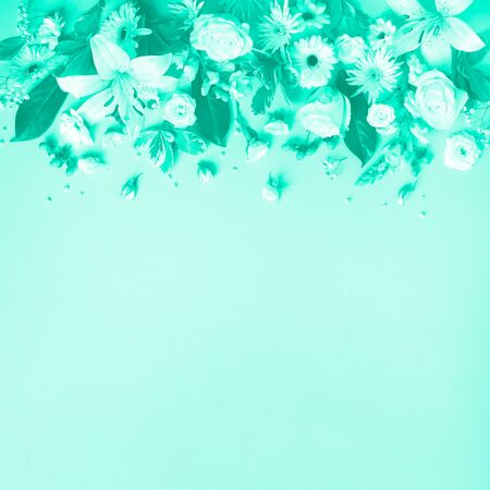 Spring composition of mint flowers on trendy green color background with copy space. Creative layout. Flat lay. Top view. Summer minimal concept Stockfoto
