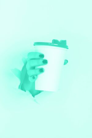 Female hand holding white paper mug on mint color background. Trendy green and turquoise color. Take away coffee cup concept. Mock up with copy space.