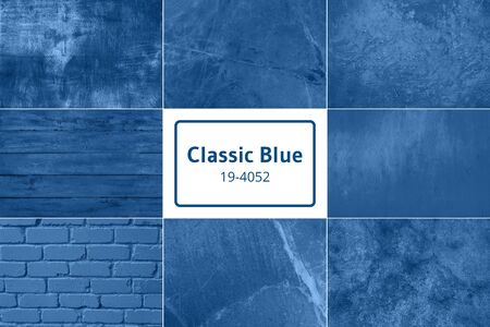 Color palette with natural wooden, stone, marble textures for design inspired by trendy classic blue color. Background with copy space.