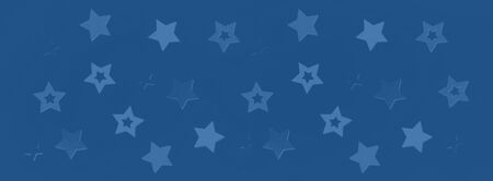 Stars on monochrome color background with bokeh. Texture for new year, birthday, baby shower party. Trendy blue and calm color. Creative pattern. Banner.