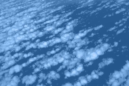 Clouds and sky view from airplane window. Abstract monochrome texture. Trendy blue and calm color. Copy space. Banco de Imagens - 135187532