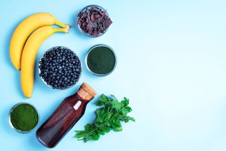 Heavy metals detox smoothie. Blueberries, bilberry, barley grass juice extract, spirulina powder, orange juice, dulse and cilantro on blue background. Healthy eating, alkaline diet, vegan concept.