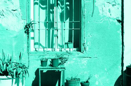 Old mint painted house with cracked walls, wooden window and plants in trendy color. Pop art concept, retro style. Biscay Green color of the year 2020 Zdjęcie Seryjne