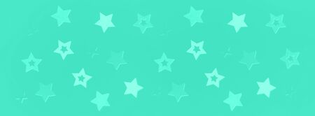 Stars on mint color background with bokeh. Texture for new year, birthday, baby shower party. Trendy green and turquoise color. Creative pattern. Banner. Zdjęcie Seryjne