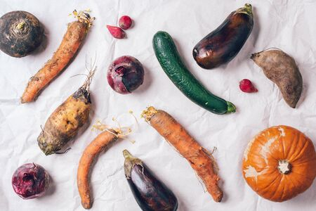 Ugly organic rotten vegetables with mutations on craft paper background. Concept of zero waste production. Copy space. Spoiled non gmo vegetables with dots. Compost. Archivio Fotografico