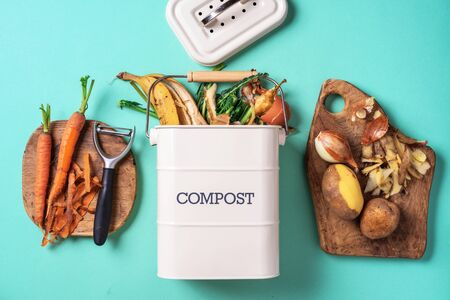 Top view of kitchen food waste collected in recycling compost pot. Peeled vegetables on chopping board, white compost bin on blue background Stock Photo