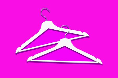Top view of white clothes hangers on pink background with copy space. Flat lay. Minimalism style. Creative layout. Fashion, store sale, shopping concept. Banner for feminine blog. Stock Photo