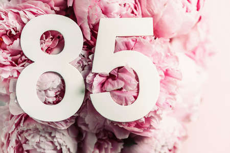 Peony flowers, digit eighty-five. Birthday greeting card with inscription 85. Anniversary concept. Top view. White numeral on flower background. Numerical digit, Celebration event, template, flyer