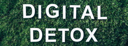 Inscription Digital Detox on moss, green grass background. Top view. Copy space. Banner. Biophilia concept. Nature backdrop. Digital Detox. Free of Electronic Devices