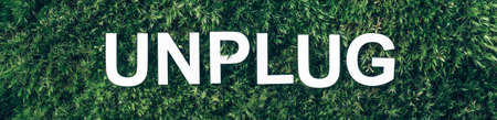 Word Unplug, white internet usb adapter on moss, green grass background. Top view. Copy space. Banner. Biophilia concept. Nature backdrop Stockfoto - 168067338