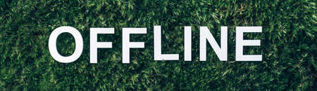 Word Offline on moss, green grass background. Top view. Copy space. Banner. Biophilia concept. Nature backdrop Stockfoto