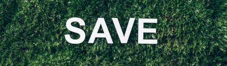 Word Save on moss, green grass background. Top view. Copy space. Banner. Biophilia concept. Nature backdrop