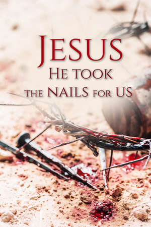 Good Friday, Passion of Jesus Christ. Crown of thorns, hammer, bloody nails on ground. Christian Easter holiday. Top view, copy space. Crucifixion, resurrection of Jesus Christ. Gospel, salvation Stockfoto