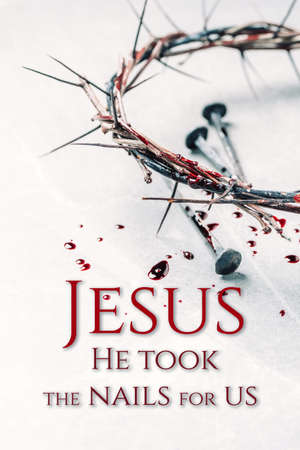 Bloody nails, crown of thorns, drops of blood on grey stone background. Good Friday, Passion of Jesus Christ. Christian Easter holiday. Crucifixion, resurrection of Jesus Christ. Gospel, salvation Stockfoto - 168067352