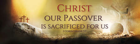 Jesus life chronology. Christian Easter concept. Born to Die, Born to Rise. Three crosses and empty tomb background. Jesus reason for season. Salvation, Messiah, Emmanuel, God with us.