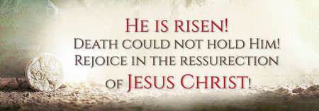 Stone is rolled away from empty grave on Easter morning. Jesus Christ resurrection. Empty tomb of Jesus with light. Born to Die, Born to Rise. He is not here he is risen . Christian Easter concept. Stockfoto
